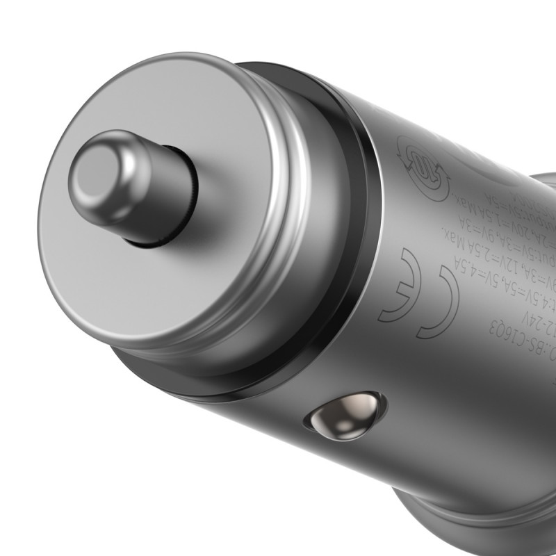 Автомобильное ЗУ Baseus Circular Metal PPS 30W (Support VOOC) USB - Купить в Украине за 459 грн - изображение №6
