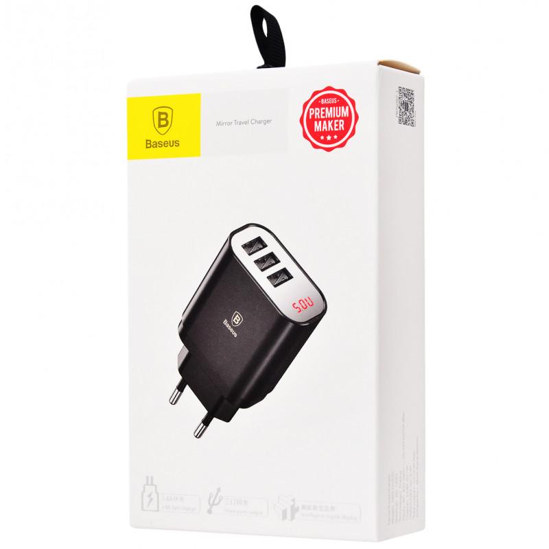 СЗУ Baseus Mirror Traveler Intelligent Digital Display 3.4A 3USB - Купить в Украине за 339 грн - изображение №2