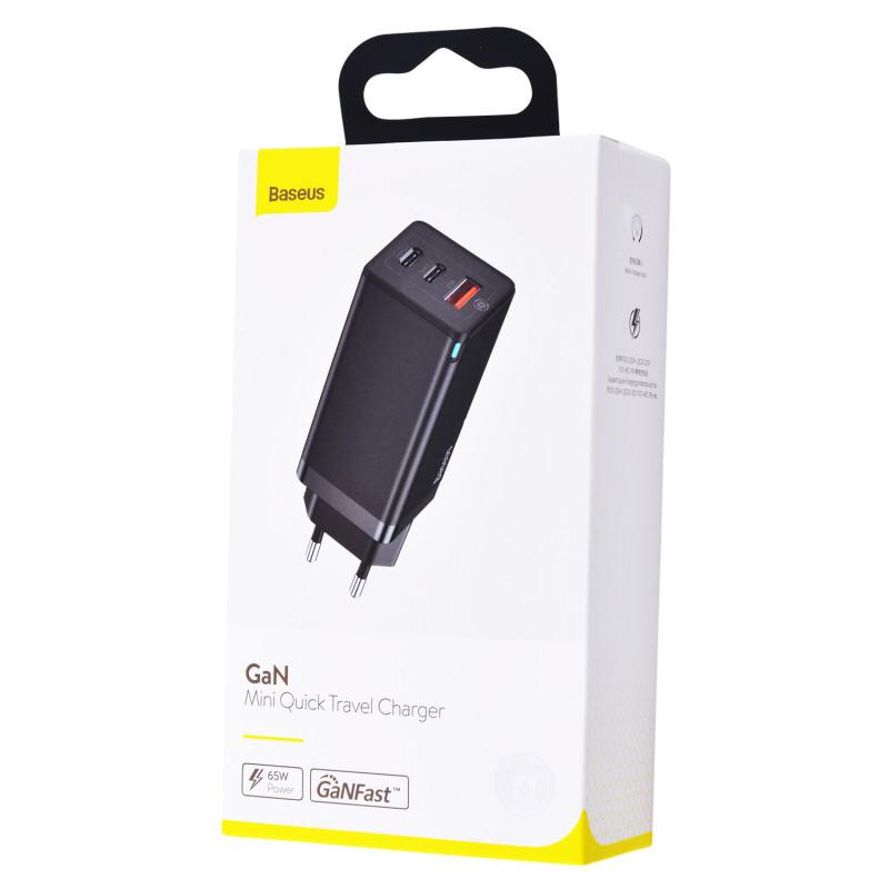 СЗУ Baseus GaN Quick Travel Charger 65W (2 Type-C + 1 USB) - Купить в Украине за 1179 грн - изображение №2