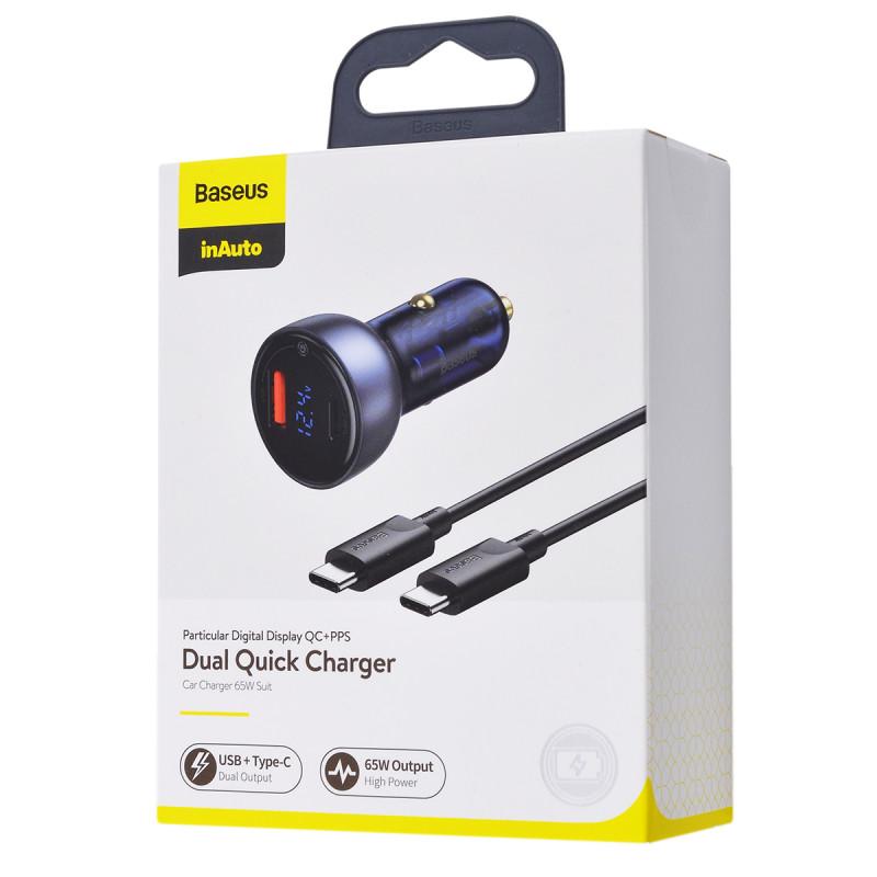 Автомобильное ЗУ Baseus Particular Digital Display PPS Dual Quick Charger 65W USB + Type-C - Купить в Украине за 579 грн - изображение №2