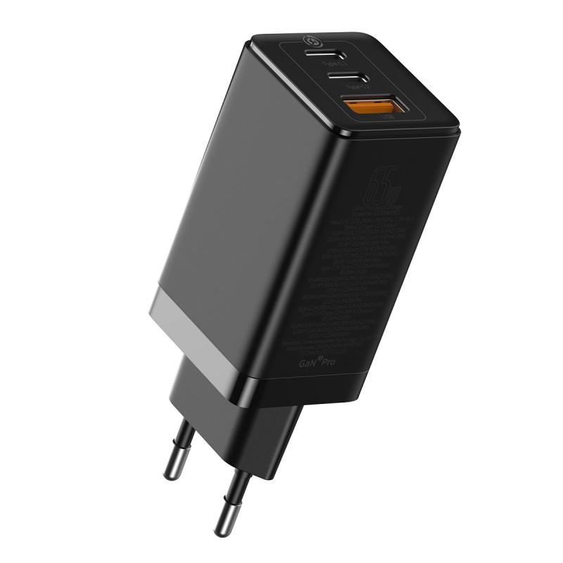 СЗУ Baseus GaN2 Quick Charger 65W (2 Type-C + 1 USB) - Купить в Украине за 1179 грн - изображение №5