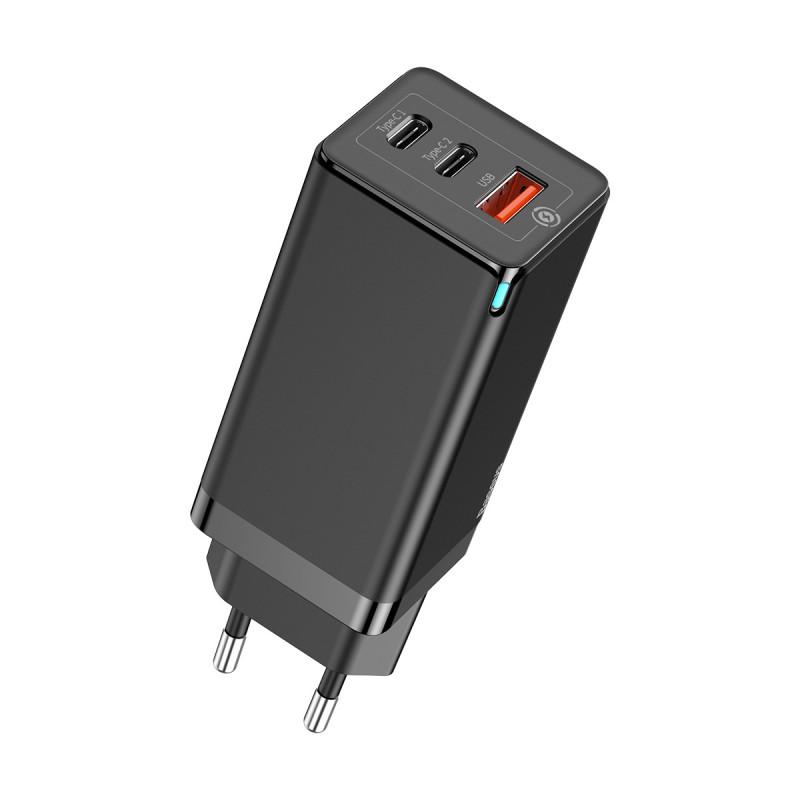 СЗУ Baseus GaN Quick Travel Charger 65W (2 Type-C + 1 USB) - Купить в Украине за 1179 грн
