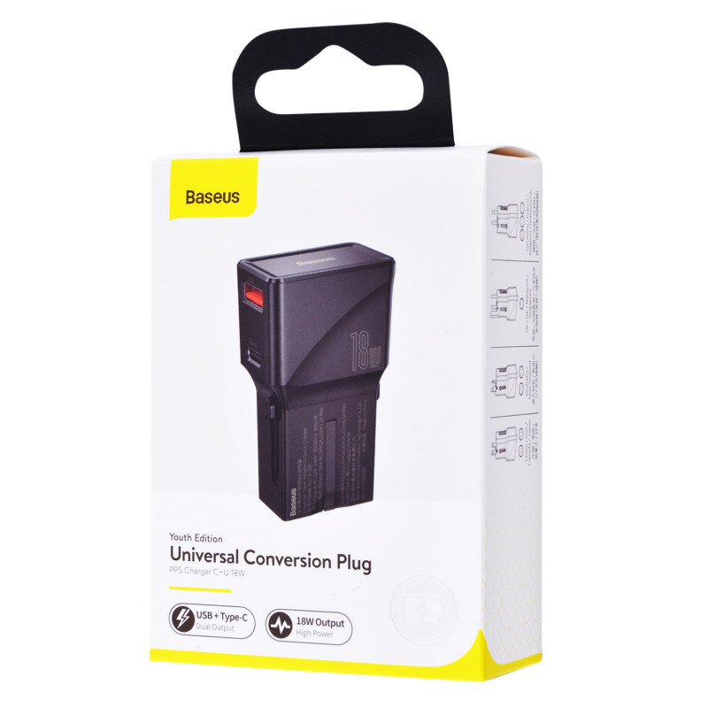 СЗУ Baseus Universal Conversion Plug PPS Charger 18W (1 Type-C + 1 USB) - Купить в Украине за 589 грн - изображение №2